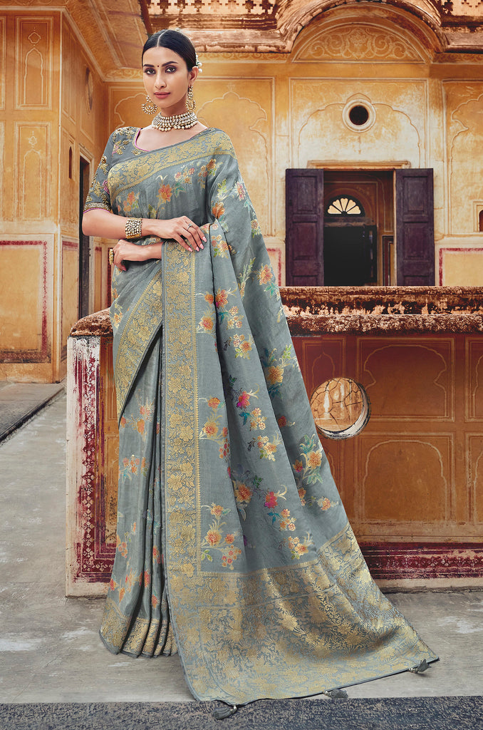 Silk Light Grey Weaving Jacquard with Embroidered Blouse Saree with Blouse