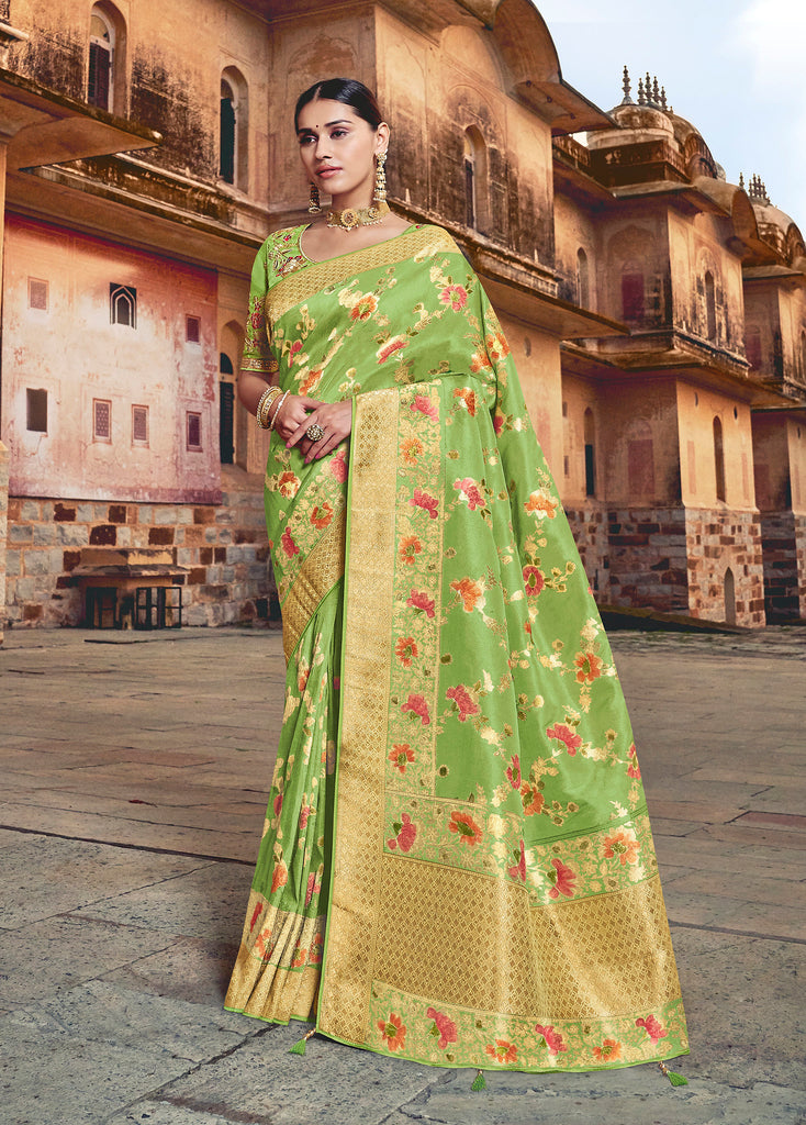 Silk Pista Weaving Jacquard with Embroidered Blouse Saree with Blouse