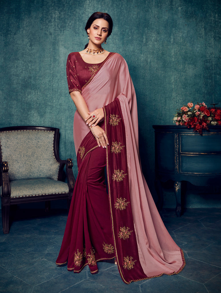 Latest Vichitra Silk Maroon & Pink Thread & Zari Embroidery Saree with Embroidered Blouse