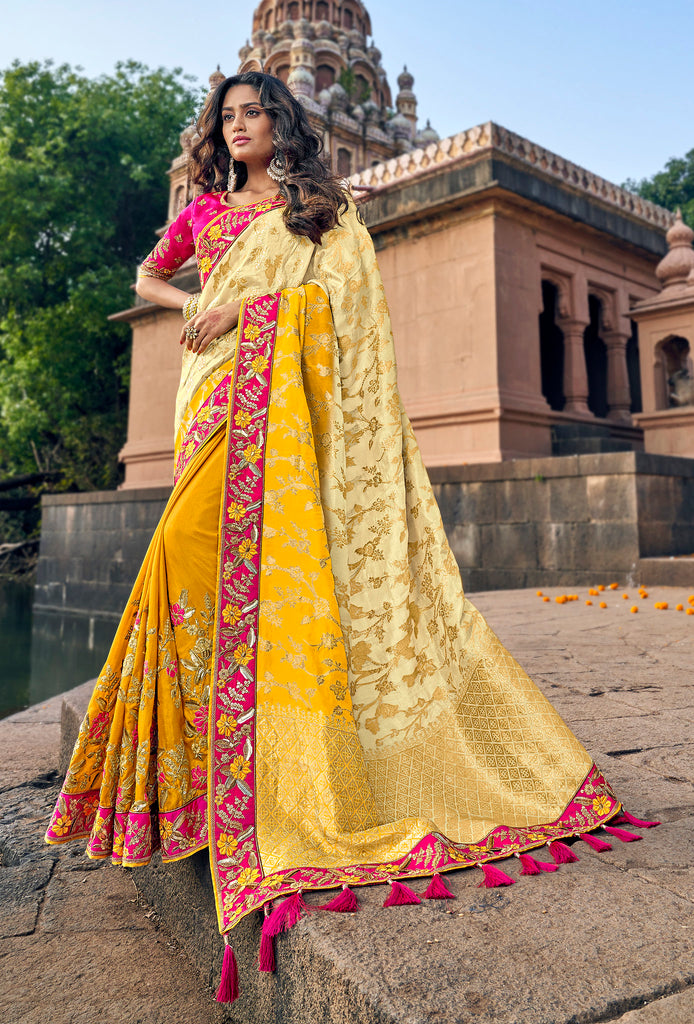 Off white & Yellow Banarasi Silk Jacquard Woven thread and zari embroidered saree with Embroidered Blouse