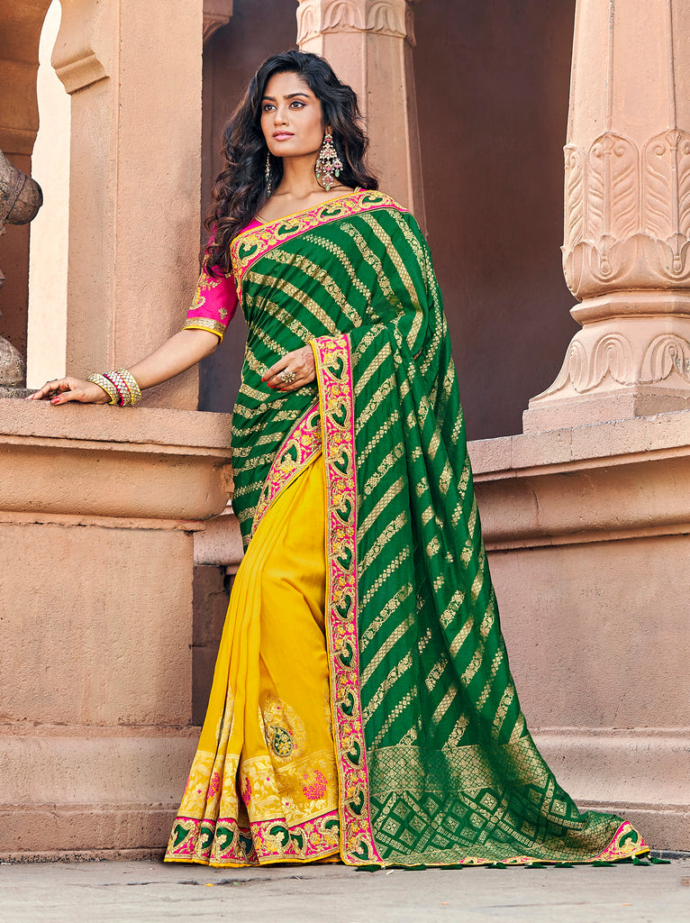 Green & Yellow Banarasi Silk Jacquard Woven thread and zari embroidered saree with Embroidered Blouse