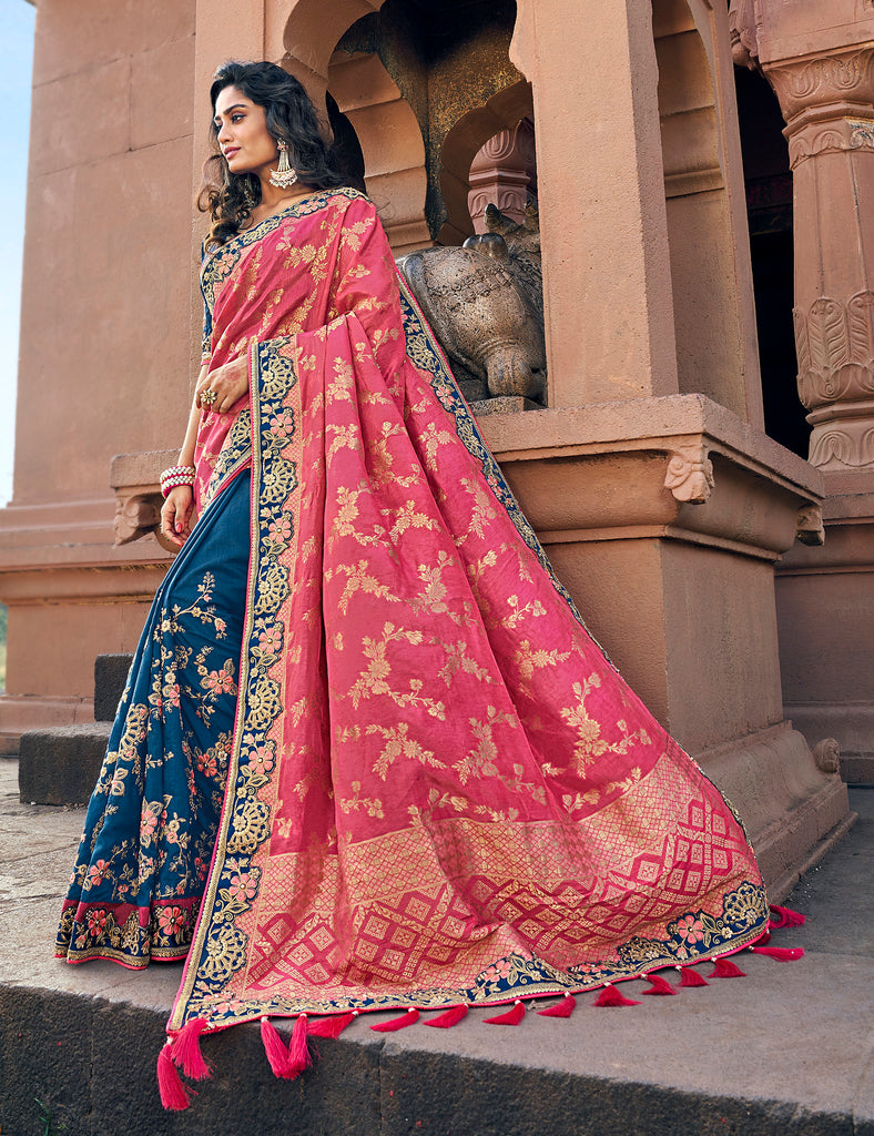 Pink & Blue Banarasi Silk Jacquard Woven thread and zari embroidered saree with Embroidered Blouse
