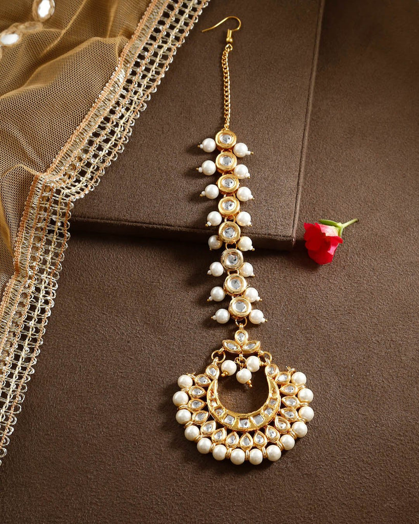 Gold Plating Floral Design With Kundan Stones Maang Tikka By Imli Street