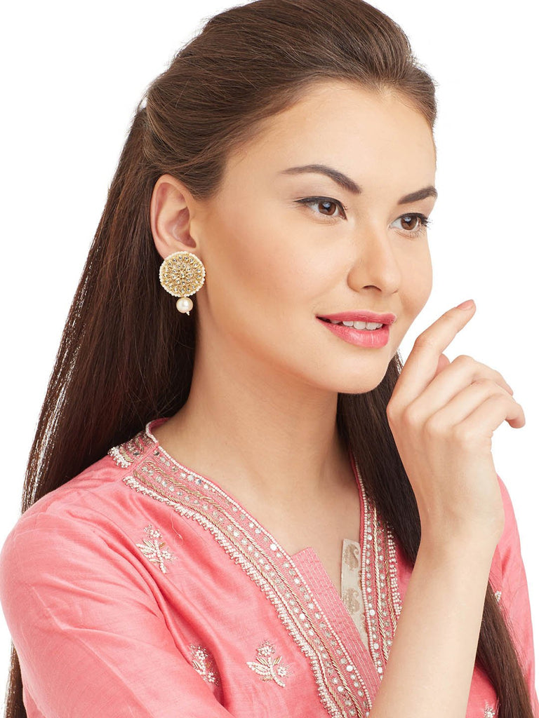 Gold Plating Kundan Stones With White Pearl Dropping Floral Design Stud Earring By Imli Street