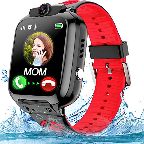 OVV Kids Smartwatch Phone with WiFi / LBS Tracker for Girls Boys with IP67 Waterproof SOS Call Camera Touch Screen Game Alarm Kids Digital Wrist Watch Gift Electronic Watch (أحمر)