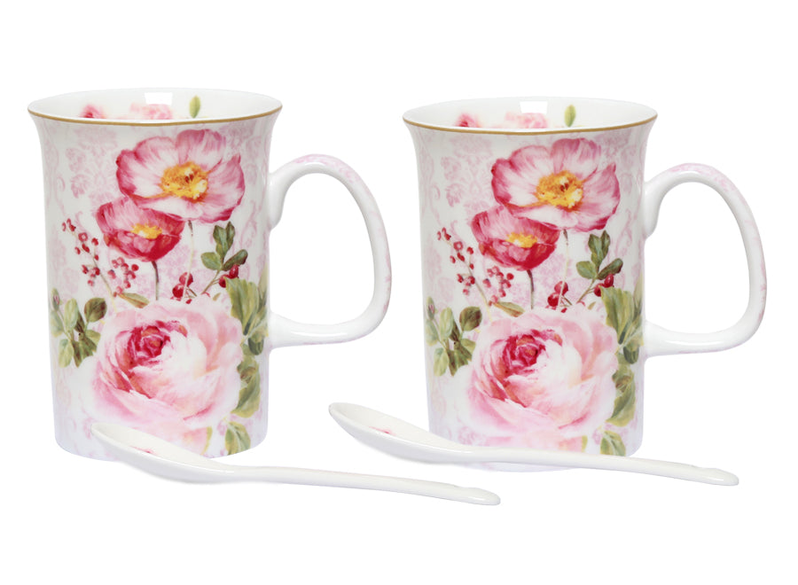 FLORAL DAMASK SET 2 MUGS/SPOON
