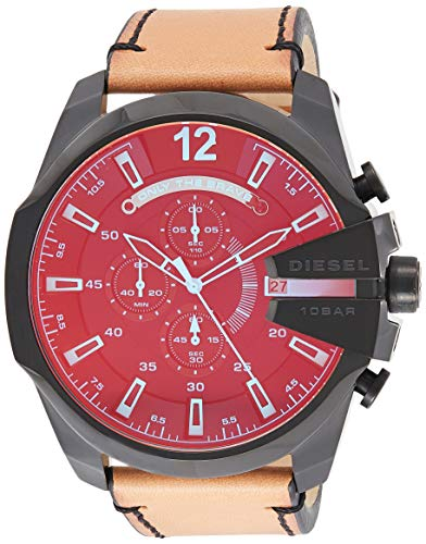 Diesel Men's Mega Chief Quartz Stainless Steel and Leather Chronograph Watch, Color: Black, Brown (Model: DZ4476)