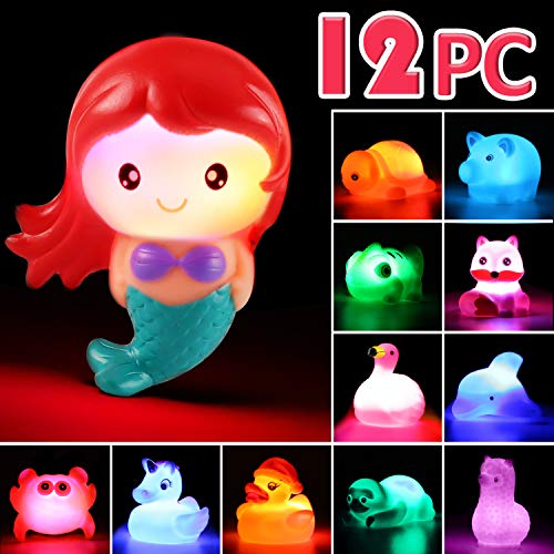 Laxdacee Bath Toy, 12 Pack Light up Animal, Floating Rubber Auto Flashing Color Tub Toys for Bathtub Bathroom Shower Game Swimming Pool Party, Water Toy for Infant Kid Toddler Child Boy Girl