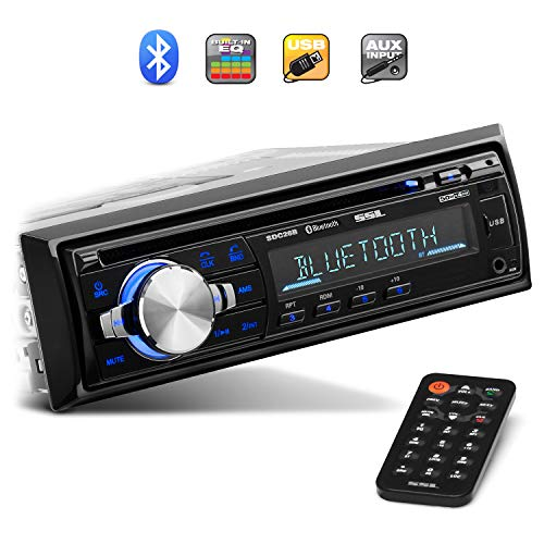 Sound Storm Laboratories SDC26B Car Stereo - Single Din، Bluetooth Audio and Hands-Free Calling، Built-in Microphone، MP3 Player، CD، USB Port، AUX Input، AM / FM Radio Receiver، Wireless Remote Control