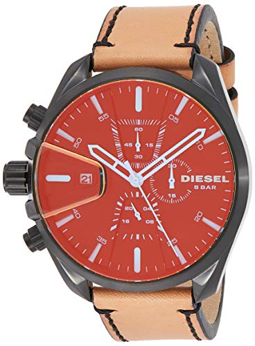 Diesel Men's Ms9 Chrono Stainless Steel Quartz Watch with Leather Calfskin Strap, Brown, 21 (Model: DZ4471)