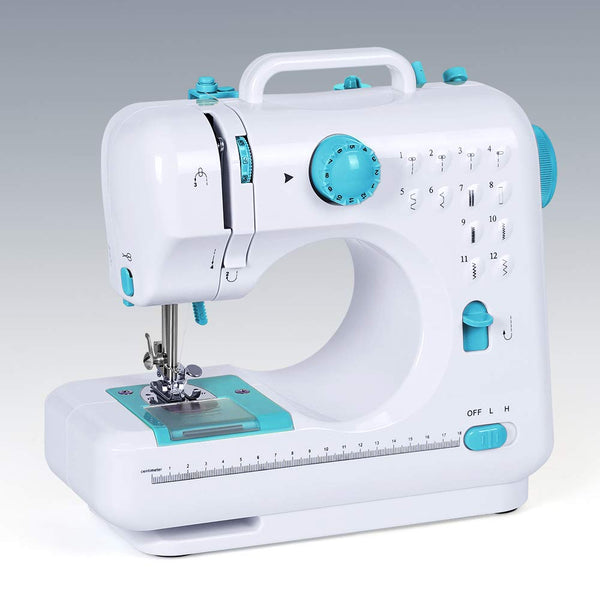 Household Sewing Machine Portable Mini Multi-Functional Electric Crafting Mending Machine with 12 Built-in Stitches 2 Speeds Foot Pedal for Beginners Adults Girls Amateurs Blue