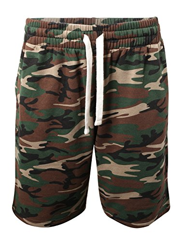 ProGo Men's Casual Basic Fleece Marled Shorts Pants with Elastic Waist (Forest Camo, L)