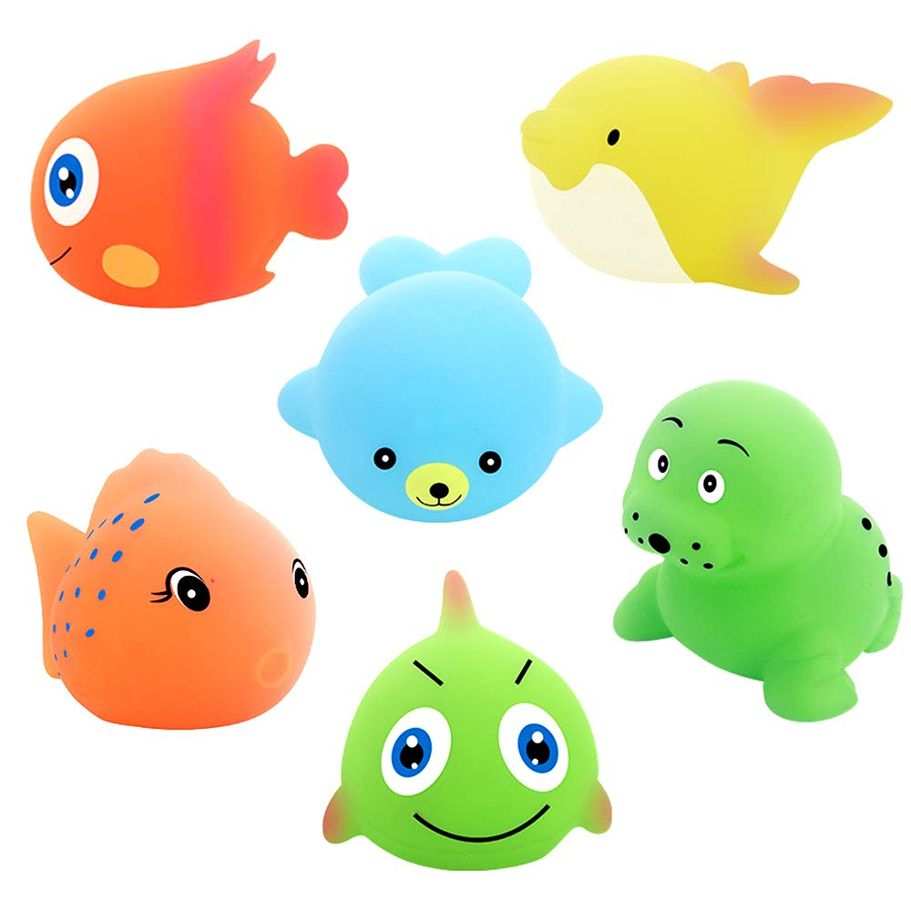 Blppldyci Toddler Bath Bathtub Toys Set, Ocean Cute Animals Sensory Bath Toys for 2 3 4 Year Old Baby Toddler Kids Girls and Boys (6 Pack)