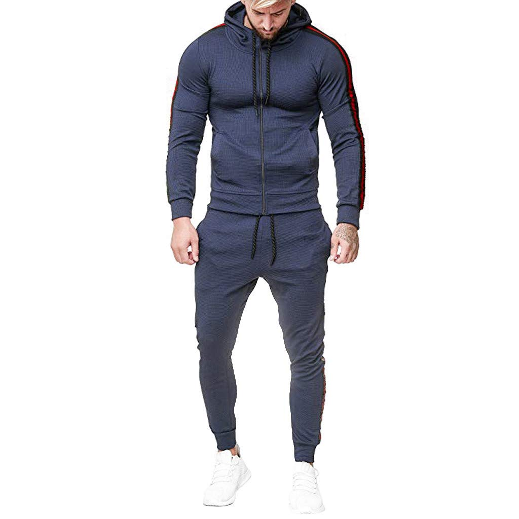 SANFASHION Men's Tracksuits Set Gradient Long Sleeve Full Zip Hooded Sweatshirt and Long Trouser Set Gym Tracksuit Set Jogging Activewear Sports Jogger Clothes Medium