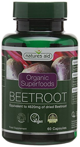 Natures Aid Organic Beetroot Capsules, Equivalent to 4620 mg Dried Beetroot, Vegan, 60 Capsules