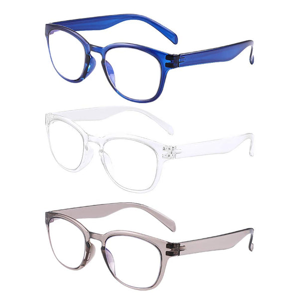 Blue Light Blocking Reading Glasses for Women Men, Fashion Computer Glasses Anti-Glare Anti-eyestrain Headache, UV400/3 Packs in Clear, Gray, and Navy Blue