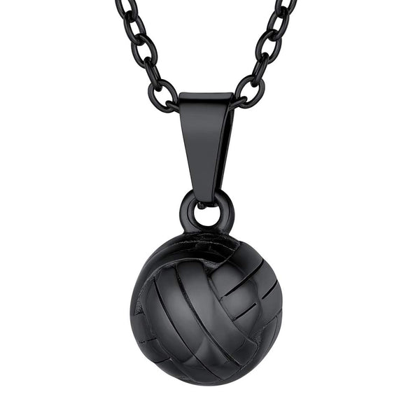 Men Volleyball Pendant Necklace, with Chain-18K Gold Plated/316L Stainless Steel/Black (Send Gift Box)