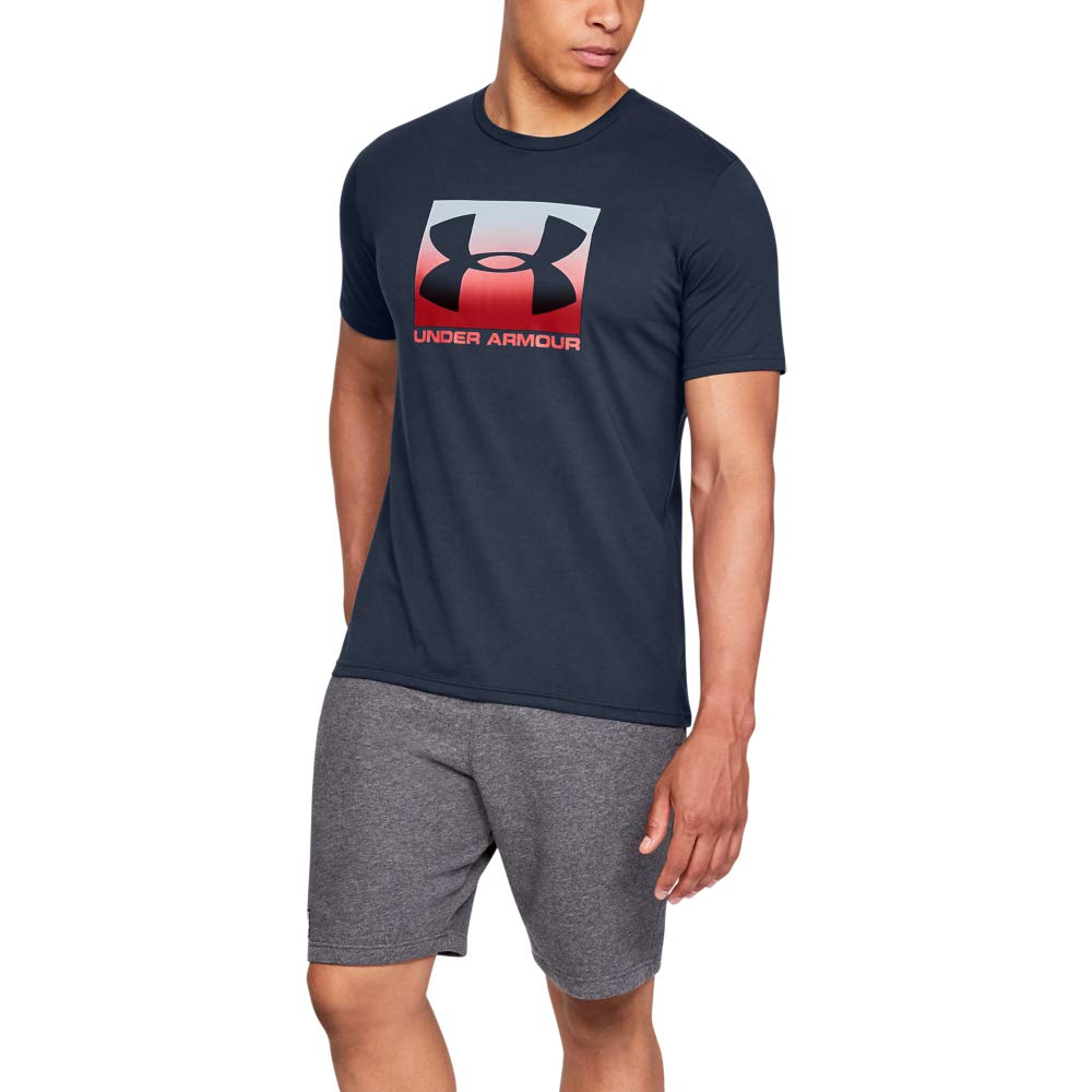 Men's Ua Boxed Sportstyle Short Sleeve Short Sleeve Stylish and Comfortable T Shirt for Men, Breathable Gym and Fitness Clothing Large