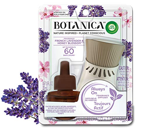 Botanica by Air Wick Plug in Scented Oil Starter Kit, 1 Warmer + 1 Refill, French Lavender and Honey Blossom, Air Freshener, Essential Oils