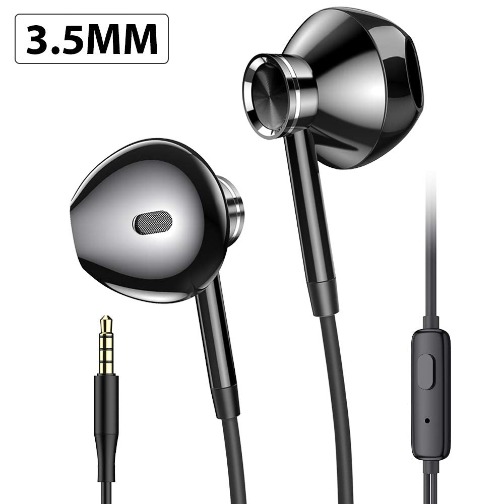 Earphones with Mic, PRO-ELEC Headphone In Ear Earphones Wired 3.5mm Jack Earbuds Headphones with Pure Sound and Heavy Deep Bass for iPhone, iPod, iPad, Samsung - Black
