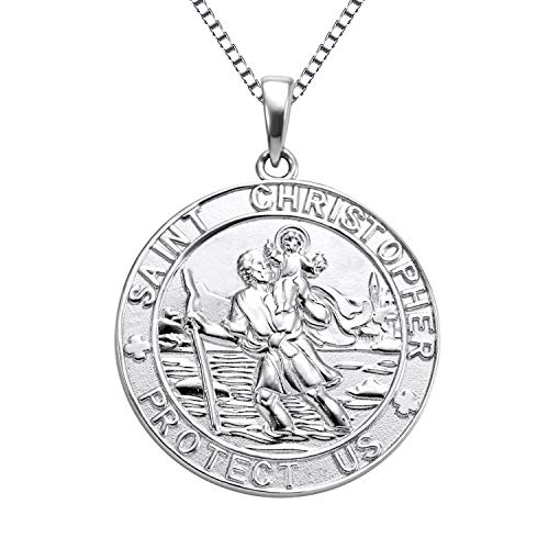"""YL Jewelry St Christopher Medal Pendant Patron Saint Guardian Protect Us Pendant 925 Sterling Silver Engraved Medallion، 18 """""""