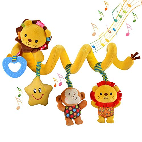 willway Hanging Car Seat Toys, Infant Baby Activity Plush Toys for Crib Mobile Stroller Bar Car Seat Mobile - with Musical Star Rattle Monkey Beep Lion
