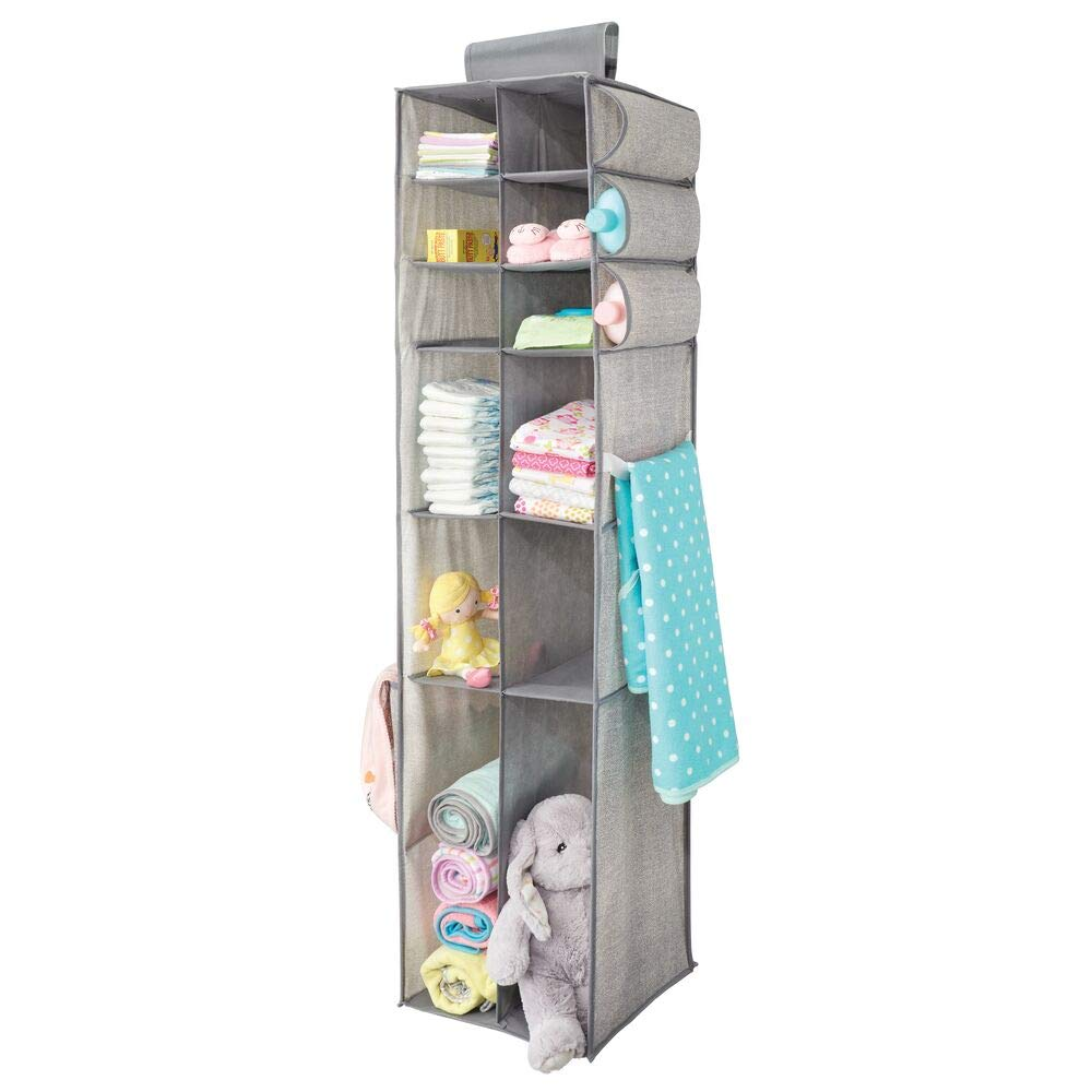 mDesign Long Soft Fabric Over Closet Rod Hanging Storage Organizer with 12 Divided Shelves, Side Pockets for Child/Kids Room or Nursery, Store Diapers, Wipes, Lotions, Toys - Gray