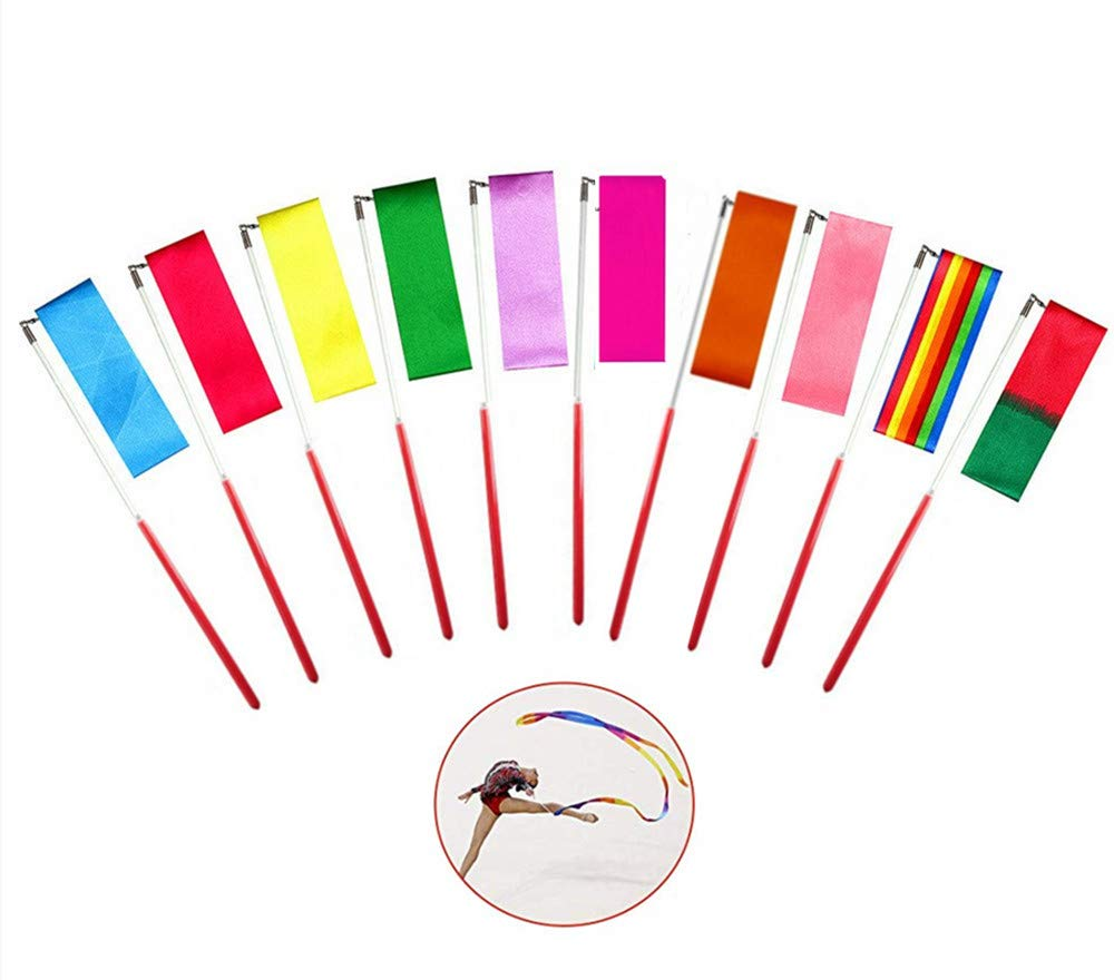 Dance Ribbons,10 Pack Rhythmic Gymnastics Ribbon 2 Meter Dancing Streamers Rhythmic for Children Kids Dancing Streamers Rhythmic,10 Colours