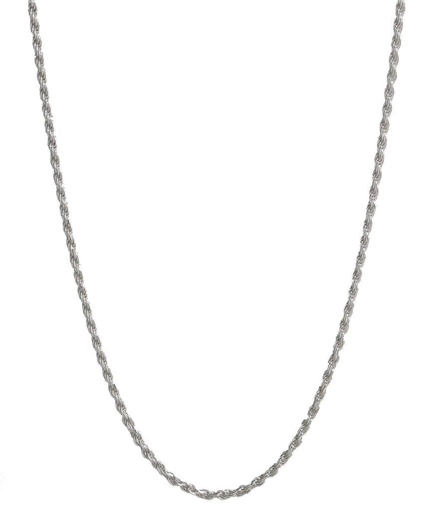 Pori Jewellers Platinum 950 Solid Diamond Cut Rope Chain Necklace - 2.0mm Thick