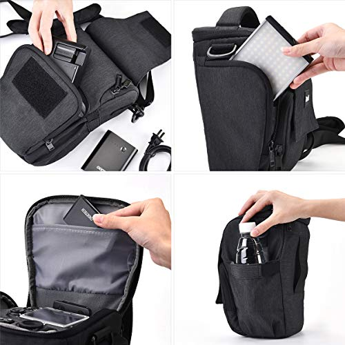 Medium Camera Case, Zecti DSLR Camera Bag Waterproof with Modular Inserts for Nikon, Canon, Sony, Fuji Instax, Mirrorless Cameras and Lenses Accessories- Black