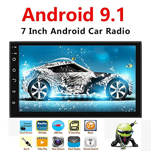 Binize 7 Inch Android 9.1 HD Double Din Car Stereo Multimedia Radio، GPS Navigation، Bluetooth، WiFi، iOS & Android Phone Mirror Link، Front & Backup Camera Input (2G RAM + 16G ROM)