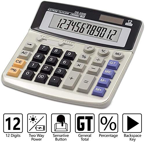 Calculator,Basic Desktop Calculator,with 12-Digit Large LCD Display and Large Scientific Electronic Calculator Computer Keys Office Calculator (Battery Included)