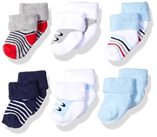 Luvable Friends Unisex Newborn and Baby Socks Set، Blue Grey Sneakers، 0-3 Months