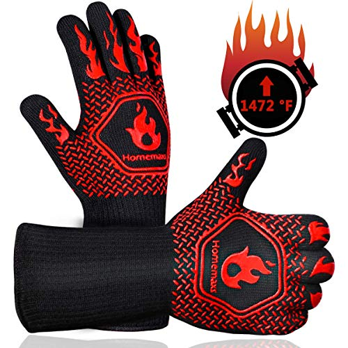 Homemaxs BBQ Gloves,Oven Gloves1472? Extreme Heat Resistant, Food Grade Kitchen Grill Gloves, Silicone Non-Slip Cooking Gloves for Barbecue, Cooking, Baking, Welding, Cutting, 14 Inch (Style 1-Red)