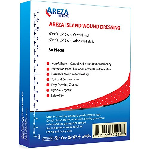 "Bordered Gauze Island Dressing 6"" x 6"" Sterile Latex Free 30 Per Box; Wound Dressing by Areza Medical"
