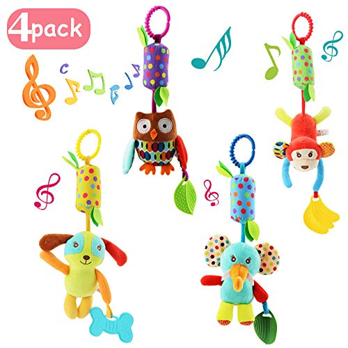 4 قطع من Joyshare Baby Soft Hanging Rattle Crinkle Crinkle Toy - Baby Toys for 0 3 6 9 to 1 Animal Ring Plush Stroller الرضع Car Bed and Travel Activity Hanging Wind Chime with Teether for Boys Girls