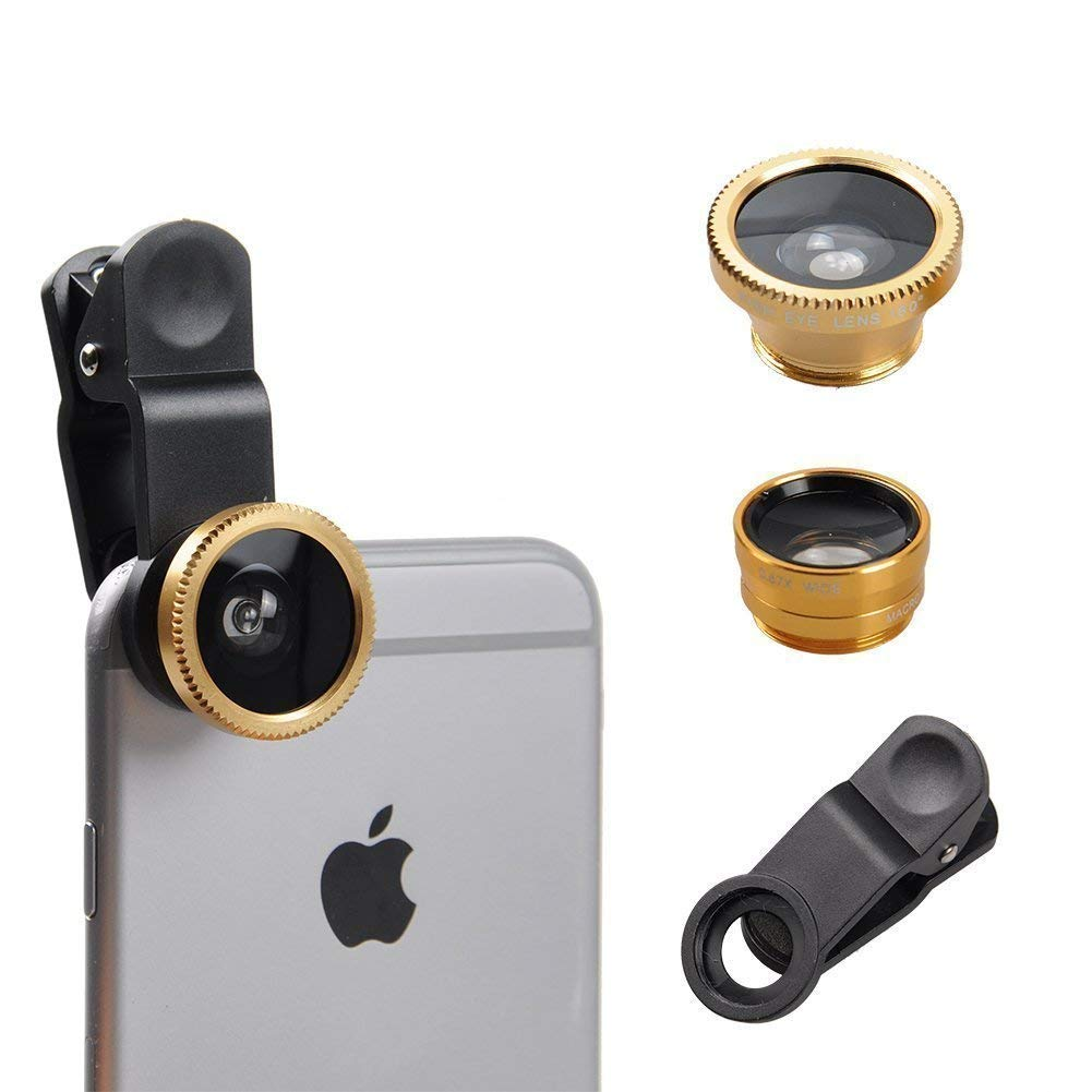 I-Sonite (Gold Mobile Phone Universal Camera Lens 3 in 1 Kit Wide Angle + Fisheye + Macro Lens For Samsung Galaxy A50
