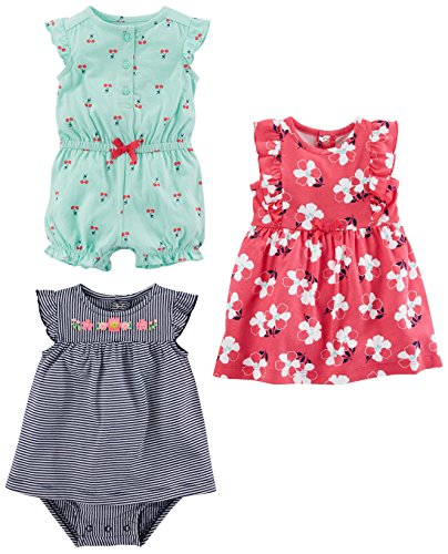 Simple Joys by Carter's Baby Girls's 3-Pack Romper، Sunsuit and Dress، Mint Cherries / Navy Stripe / Pink Floral، 3-6 أشهر