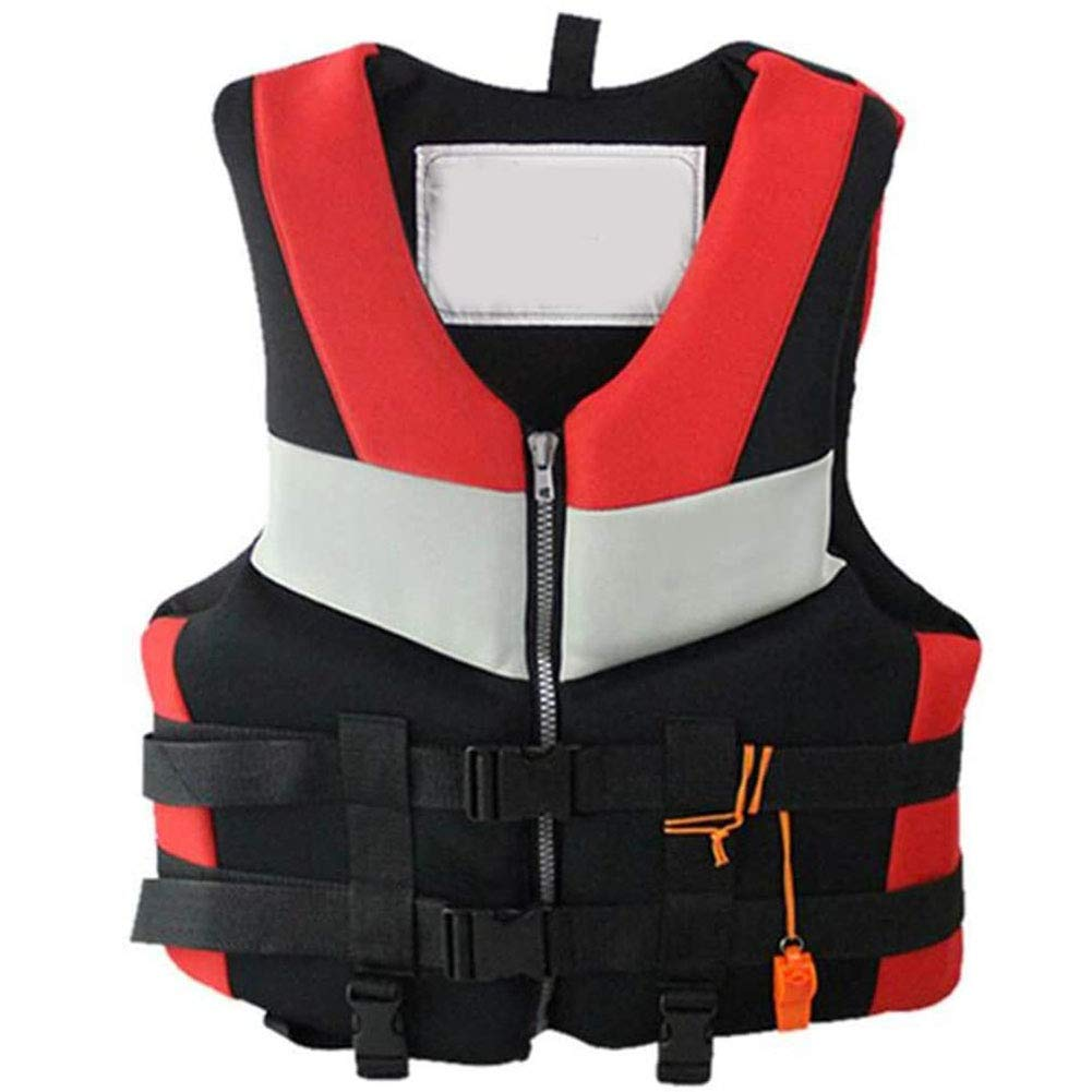 HE TUI Professional Adult Swimwear Life Jacket Kayaking Buoyancy Life Vest for Fishing Surfing Diving Rafting, Swimming Equipment Water Sports Vest with Adjustable Buckle and Whistle,M