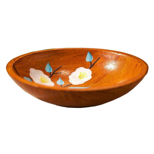 Creative Wood Bowl, Wooden Salad Bowl Round Dessert Serving Tray Snack Fruit Dry Fruit Organizer Holder Home Décor