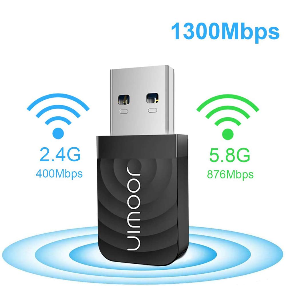 JOOWIN WiFi Dongle 1300Mbps USB WiFi Adapter 802.11AC 2.4GHz / 5.8GHz Dual Band Fast USB 3.0 Network Adapter for PC Desktop Laptop ، يدعم Windows XP / 7/8 / 8.1 / 10 ، MacOS 10.9-10.14