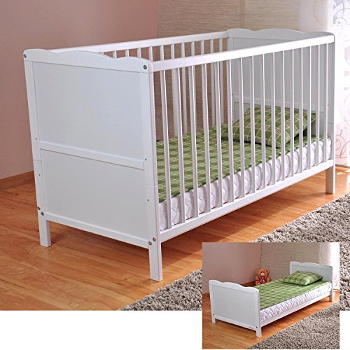 White Solid Wood Baby Cot Bed & Deluxe Foam Mattress Converts into a Junior Bed ? 3 Position ? water repellent mattress liner