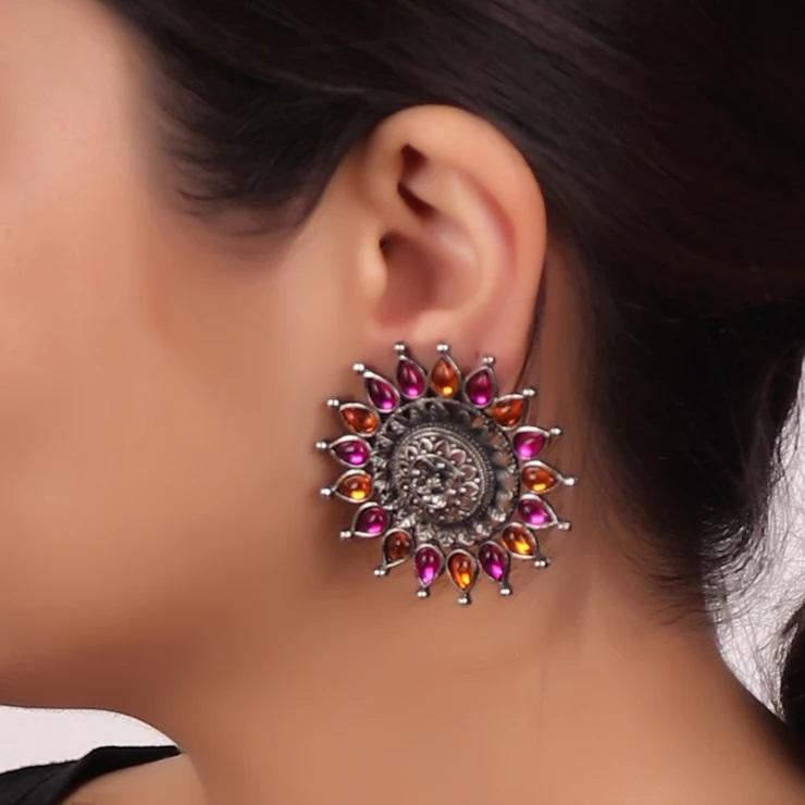 Cippele Oxidised Silver Plated Sun Flower Design Pink And Orange Color Stud Earrings