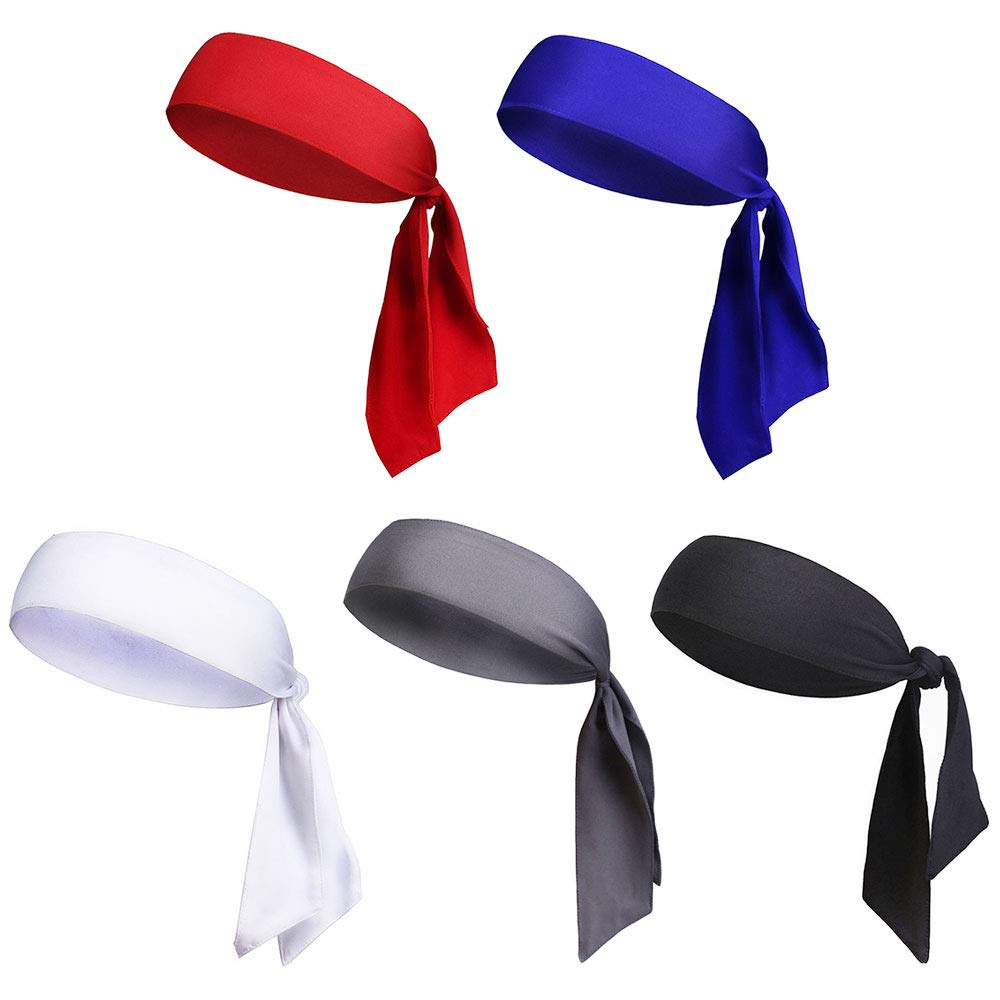 HAPPY FINDING 5 Pcs Sports Head Tie Running Hairband Tie Sports Headband Adjustable Sweatband for Working Out Tennis Karate Athletics in 5 colours