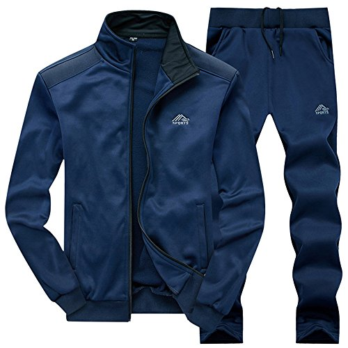 Gopune Mens Athletic Full Zip Fleece Tracksuit Jogging Sweatsuit Activewear (Blue3,M)