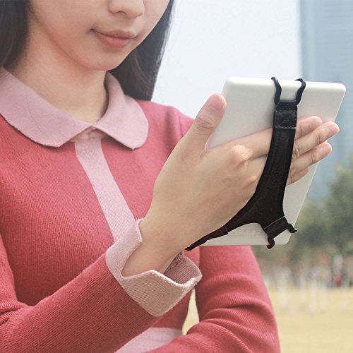 TFY Security Hand Strap Holder Finger Grip متوافق مع Kindle E-Reader - Kindle e-Reader 6Inch / Kindle Paperwhite / Voyage / Oasis / Nook GlowLight Plus / Sony PRS-300 / PRS-350 (أسود)