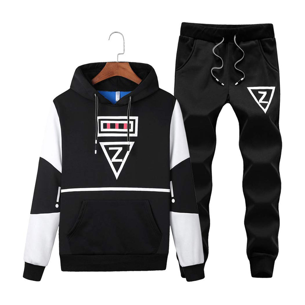 Men's Casual 2 Piece Outfits Long Sleeve Hooded Sweater Top& Pants Jumpsuit Set  Large
