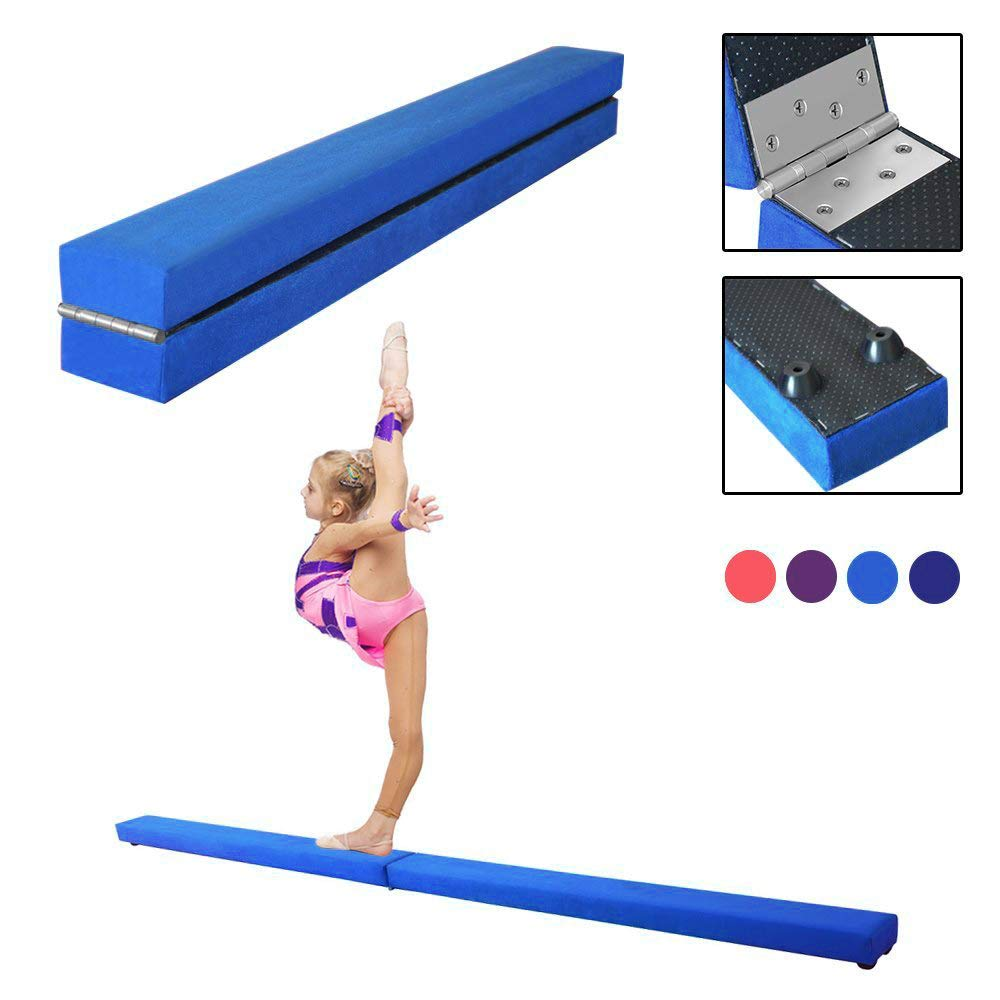 Dripex Folding Gymnastics Balance Beam 7FT Kids Training Beam Faux Suede for Home Gym Exercise