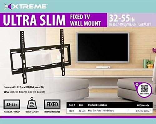 Xtreme 18015 Ultra Slim Fixed TV Wall Mount 32-55 Inches