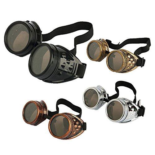 eoocvt 4pcs Retro Vintage Victorian Steampunk Goggles Glasses Welding Cyber Punk Gothic Cosplay Sunglasse